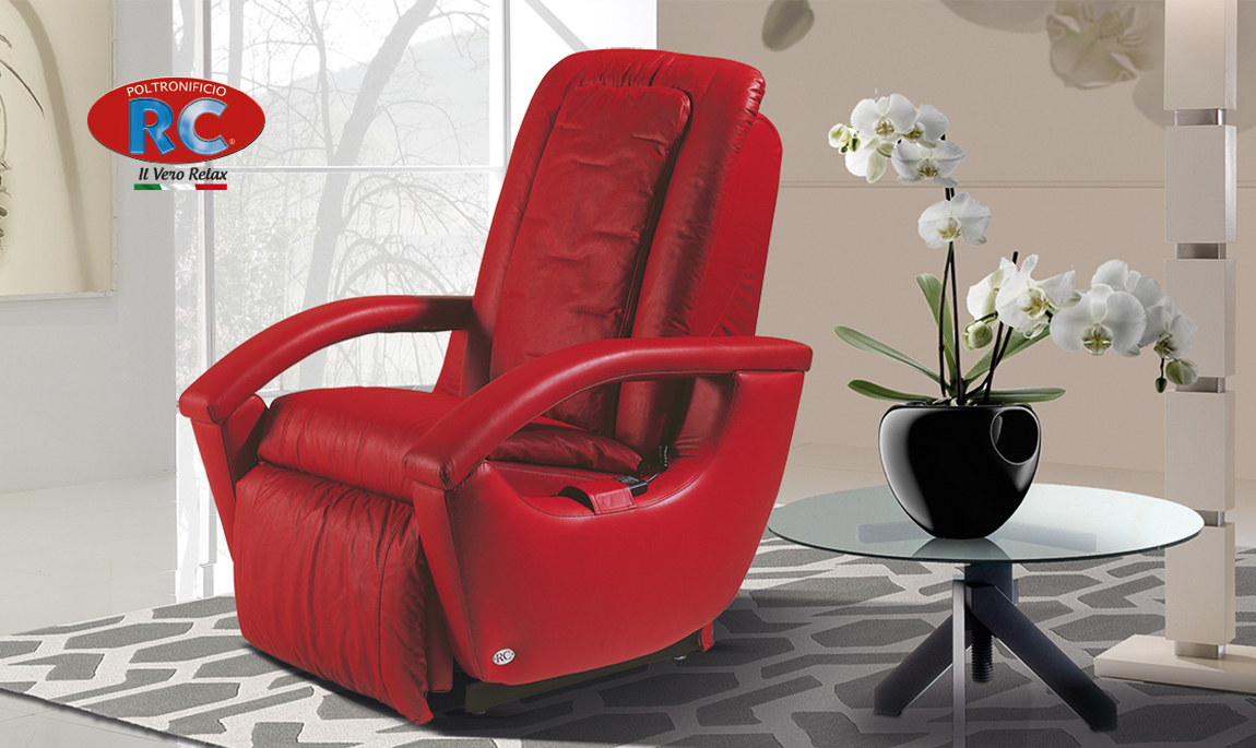 Poltrona Relax colore Rossa modello Gioia - Vista 2
